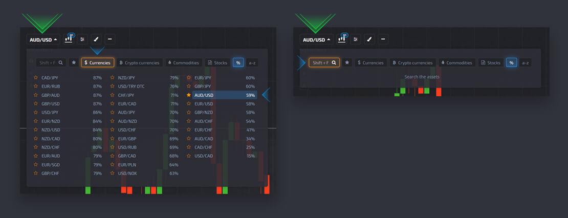 Guide des actifs de négociation / Type de graphique / Indicateurs / Dessin à Pocket Option
