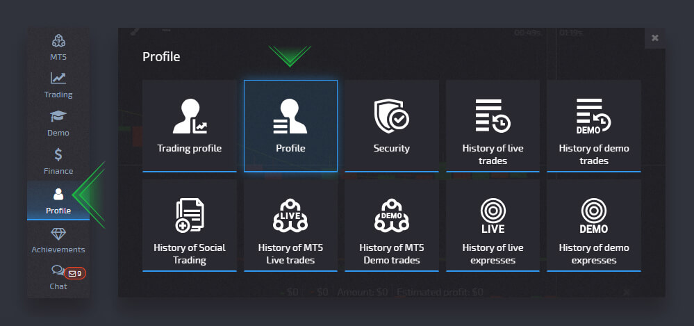 how to Use Profile Settings at Pocket Option